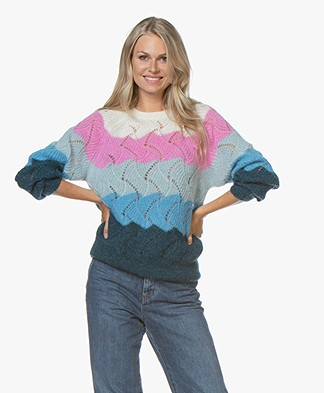 Closed Multi-color Ajour Sweater in Mohair Blend - Bright Sky