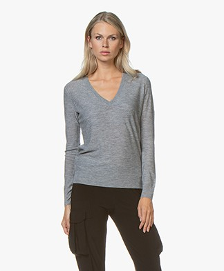 Joseph Pure Cashmere V-neck Sweater - Grey Melange