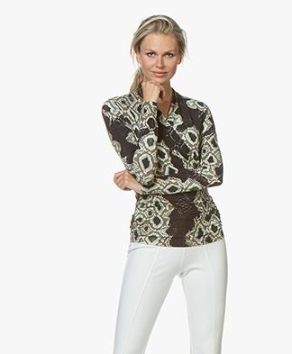 LaSalle Slangenprint Overslag T-shirt - Zwart/Groen