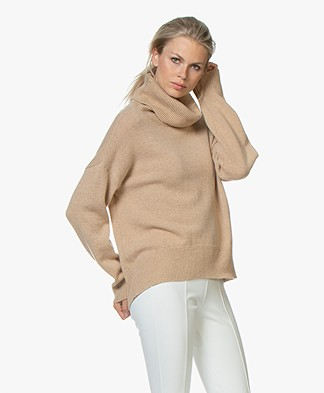 LaSalle Loose-fit Turtleneck Sweater in Wool and Cashmere - Camel