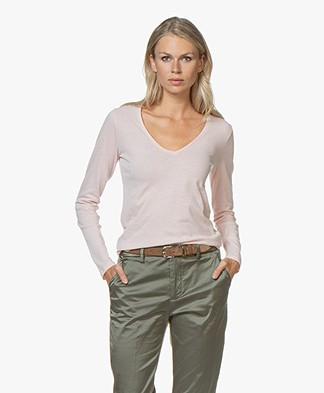 Majestic Filatures V-neck T-shirt with Cashmere - Rose poudre