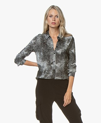 Majestic Filatures Silk Jersey Blouse with Snake Print - Black
