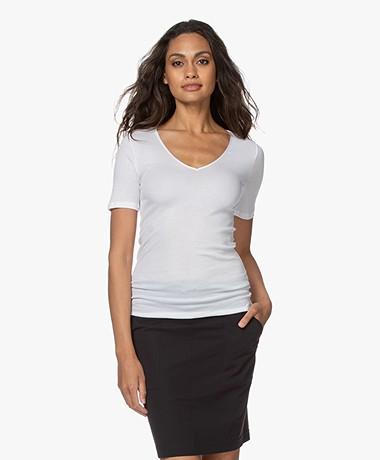 HANRO Cotton Seamless V-neck T-shirt - White