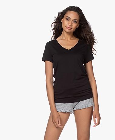 Skin Pima Katoenen V-hals T-shirt - Zwart