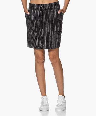 JapanTKY Ryon Travel Jersey Striped Utility Skirt - Black/White