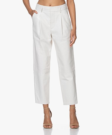 Anine Bing Becky Loose-fit Leather Pants - White