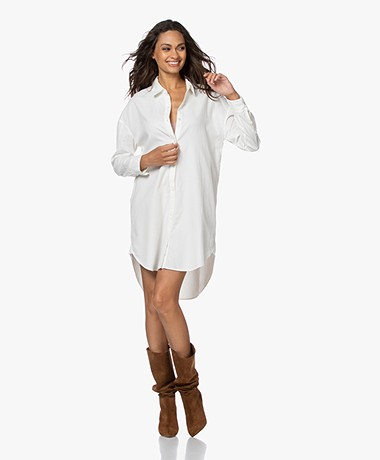 James Perse Cotton Babyroy Shirt Dress - Ivory