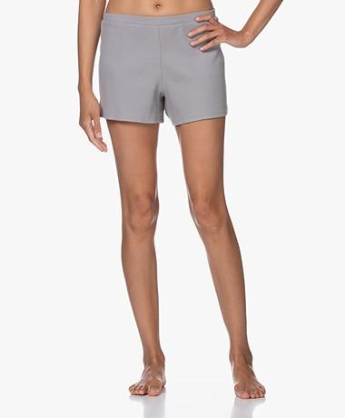 Skin Indigo Rib Jersey Shorts - Grey