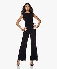 Norma Kamali Sleeveless Travel Jersey Jumpsuit - Donkerblauw