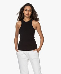 ANINE BING Eva Ribbed Jersey Tank Top - Black