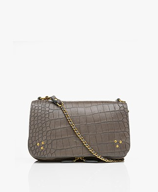 Jerome Dreyfuss Bobi Shoulder/Cross-body Bag in Lambskin - Croco Grey/Vintage Gold