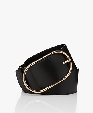 Vanessa Bruno Wide Leather Belt - Black