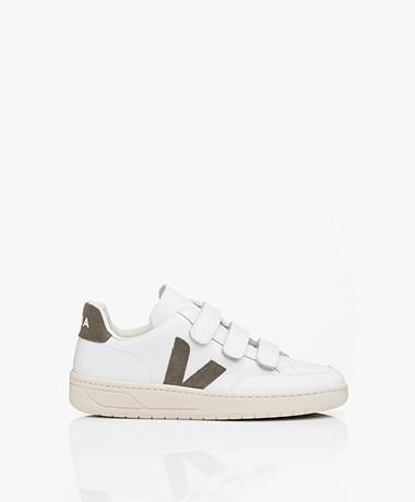VEJA V-Lock Leren Sneakers - Extra Wit/Kaki