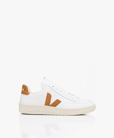 VEJA V-12 Leren Sneakers - Extra Wit/Camel