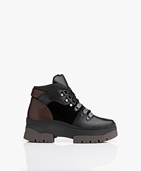 See By Chloé Texan Leather Hiker Boots - Black/Brown