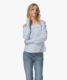 HUGO Enuka Poplin Off-shoulder Blouse - Lichtblauw