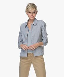 Marie Sixtine Tida Striped Cotton Jacket - Blue