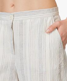 no man's land Cropped Pants in Linen Blend - Aquamarine