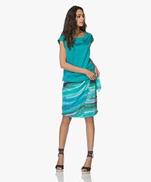 Kyra & Ko Kyra Pareo Skirt with Ocean Print - Turquoise