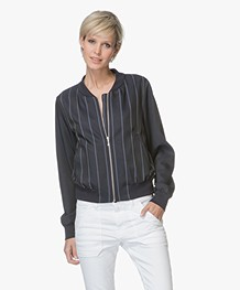 Drykorn Celton Striped Bomber Jacket - Dark Blue