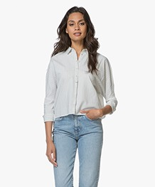 Friday's Project Gestreepte Boxy Blouse - Off-white