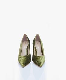 Feraggio Velvet Pumps - Green