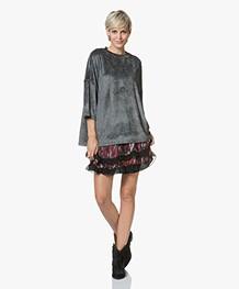 IRO Parada Oversized Velours T-shirt - Chalk/Grey
