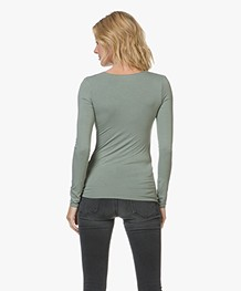 Majestic Agnes V-hals Jersey Longsleeve - New Army