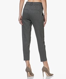Drykorn Find Taps Toelopende Jersey Pantalon - Donkergrijs Mêlee