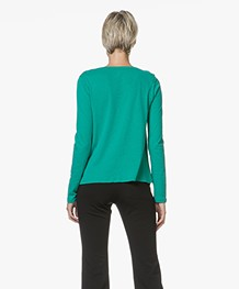 Majestic Filatures Jersey Long Sleeve in Cotton and Cashmere - Green