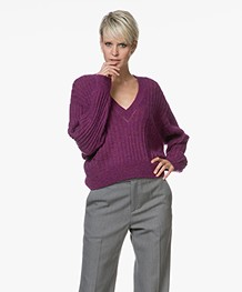 IRO Wall Cropped V-neck Pullover - Magenta Purple