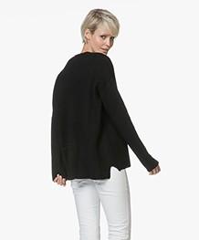 Repeat Merino Moss Knit V-neck Sweater - Black