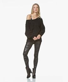 SPANX® Faux Leather Camo Leggings - Mat Zwart