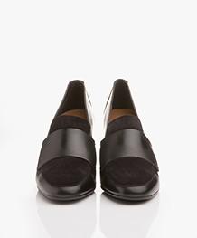 ATP Atelier Wanda Leather Loafer Heels - Black Vacchetta/Suede
