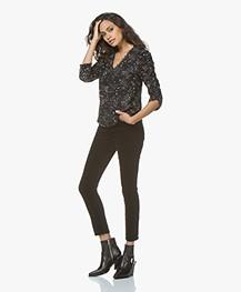 Rag & Bone High Rise Velvet Skinny Jeans - Zwart