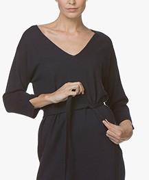 Josephine & Co Jetje Knitted V-neck Dress with Waist Belt - Navy