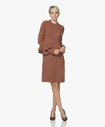 Repeat Cashmere Blend Knitted Dress with Flounce Sleeves - Brick