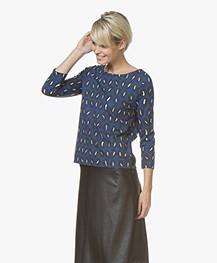 Kyra & Ko Imani Print T-shirt met Driekwart Mouwen - Kobalt