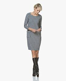 Kyra & Ko Odette Wavy Jacquard Jersey Dress - Kobalt
