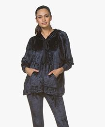 BRAEZ Sany Oversized Fluwelen Sweater met Capuchon - Navy