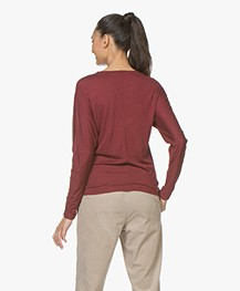 BY-BAR Katy Viscosemix Longsleeve met Lurex - Grape Red