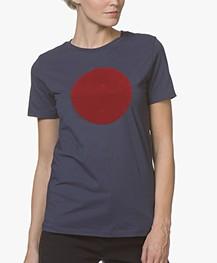 BOSS Teround Flock Print T-shirt - Donkerblauw