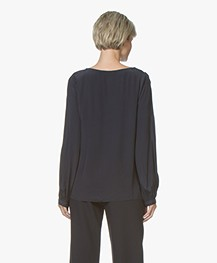 BY-BAR Goods Crêpe Blouse - Donkerblauw