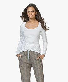 Drykorn T-shirt Selima met Ronde Hals - Wit