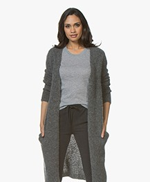 Woman By Earn Celine Long Open Cardigan in Mohair - Medium Grey