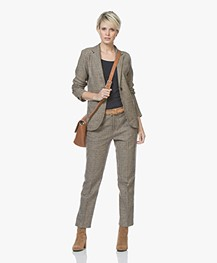 indi & cold Cropped Pantalon met Ruitdessin - Beige