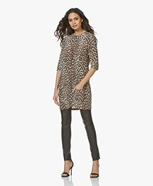 Equipment Aubrey Silk Mini Dress with Leopard Print - Beige