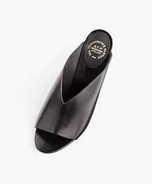 ATP Atelier Licola Leather Block Heel Mules - Black Vacchetta