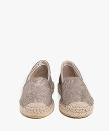 Fred de la Bretonière Embossed Leather Espadrilles - Taupe