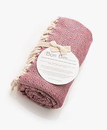 Bon Bini Hammam Towel Nikiboko 180cm x 90cm - Burgundy